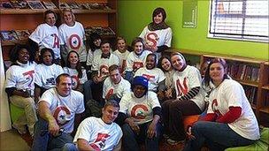 Volunteers sitting together. Photo: Xolisa Dyeshana