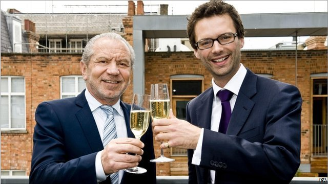 The Apprentice winner Tom Pellereau (r) and Lord Sugar
