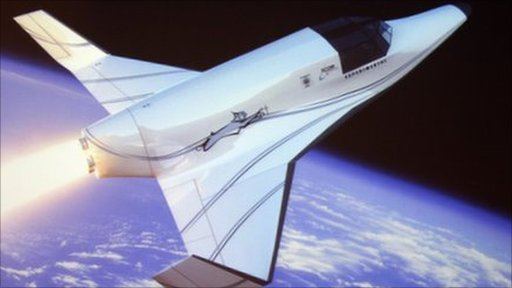 Virtual image of XCOR Aerospace&amp;apos;s Lynx, a suborbital winged vehicle which will carry a pilot and a passenger to the edge of space and return about 25 minutes later, landing like an airplane.