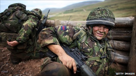 Soldiers of London's only territorial army infantry unit, take part in a live firing exercise in preparation for deployment to Afghanistan on September 17, 2009, in Appleby, England