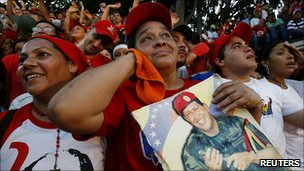 Chavez supporters in Caracas 5 July 2011