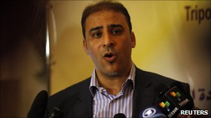 Libyan government spokesman Moussa Ibrahim speaks during a news conference in Tripoli July 18, 2011.