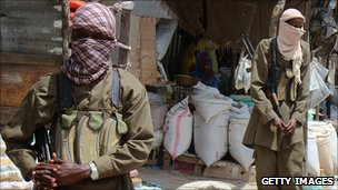 Al-Shabab insurgents on patrol in Mogadishu
