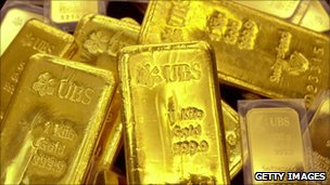 Gold bars on display