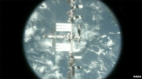Shuttle view of ISS
