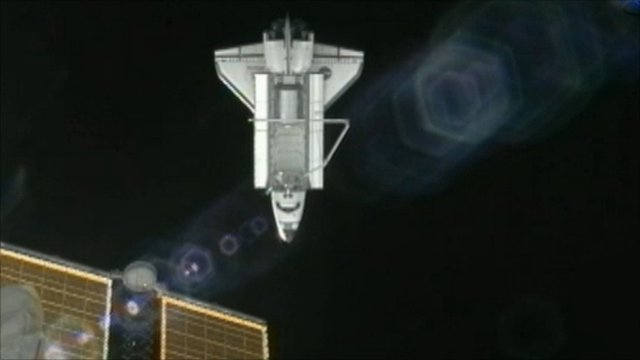 Shuttle over the ISS
