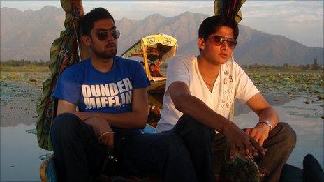 Naman (L) at the Dal lake in Srinagar