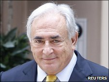 Former IMF head Dominique Strauss-Kahn leaving his temporary residence in New York, 6 July 2011