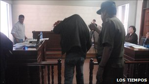 One of Juan Rivera's traffickers in court in Cochabamba. Photo: Los Tiempos newspaper