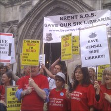 Campaigners for libraries outside the court