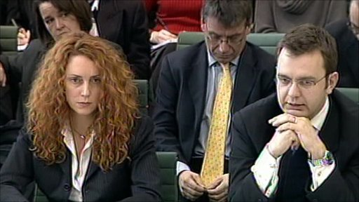 Rebekah Wade and Andy Coulson giving evidence to a Commons committee in 2003