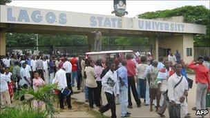 Students gathered at Lagos State University