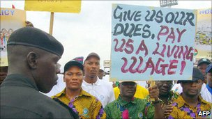 A demonstration in Abuja to protest against unemployment and poor working conditions