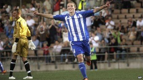 Helsinki's Alexander Ring celebrates his opening goal against Bangor