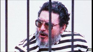 Former Shining Path leader, Abimael Guzman, in a high security jail in Lima, 08/10/1992