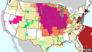 A heat map of the US