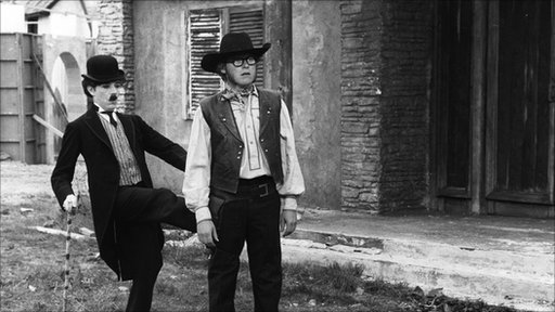 Sonny Day as Charlie Chaplin and 'Goodie' and Graeme Garden as the cowboy