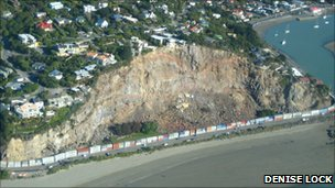 Sumner's collapsed cliff with shipping container walls