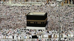 Thousands of Muslims performing the Hajj, the pilgrimage to Mecca