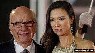 Rupert Murdoch with wife Wendy Deng