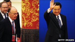 Chinese President Hu Jintao with Rupert Murdoch