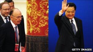 Chinese President Hu Jintao with Rupert Murdoch