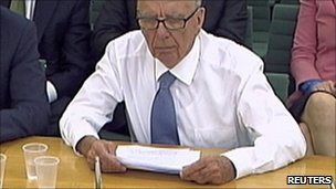 Rupert Murdoch at House of Commons committee hearing
