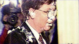 Bill Gates after a custard pie attack in 1998