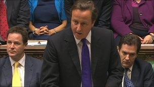 PM David Cameron addressing House of Commons 