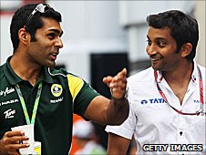 Team Lotus reserve Karun Chandhok and Hispania driver Narain Karthikeyan