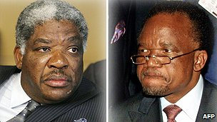 Former presidents Levy Mwanawasa (l) and Frederick Chiluba as president