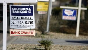 A bank owned sign hangs outside a foreclosed home February 25, 2009 in Maricopa, Arizona