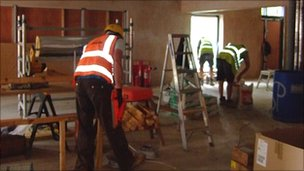 Builders working on the Nomad Centre