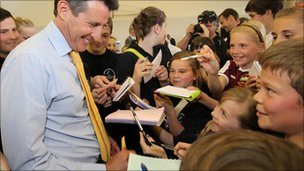 Lord Coe at Tanbridge House School (picture by Steve Lawrence)