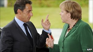 Nicolas Sarkozy and Angela Merkel in Berlin. 20 July 2011