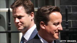 Deputy Prime Minister Nick Clegg and Prime Minister David Cameron