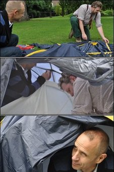 Matthew de Abaitua shows Evan Davis how to put a tent up