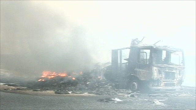 The lorry was gutted by fire on the A417 southbound carriageway