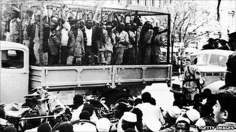 Mau Mau people in a truck in Nairobi, Kenya (1952).