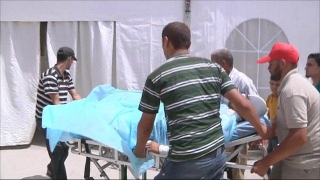 Injured man wheeled into hospital in Misrata