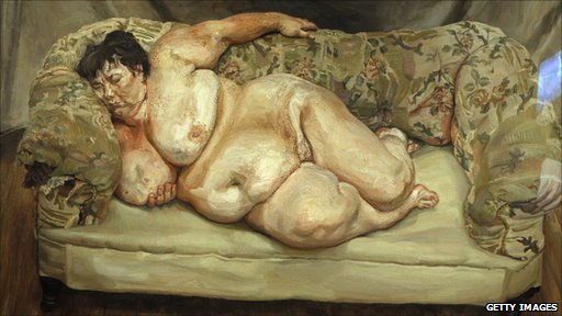 'Benefits supervisor sleeping' a painting by German-born British painter Lucian Freud