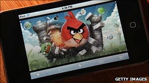 Angry Birds game on iTouch
