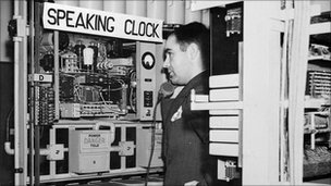 Listening to the speaking clock unit, Leeds, circa 1952