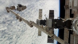 Extra-vehicular activity at the ISS
