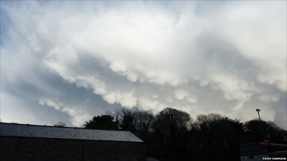 Mammatus clouds, which take their name from the Latin word for breast, taken in Douglas, Isle of Man