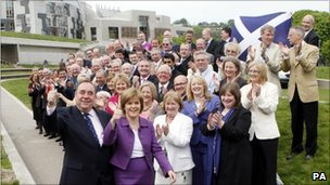First Minister of Scotland Alex Salmond with deputy leader Nicola Sturgeon and newly elected SNP MSPs following the May 2011 election