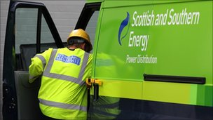 Scottish and Southern Energy signage on a van in Perth