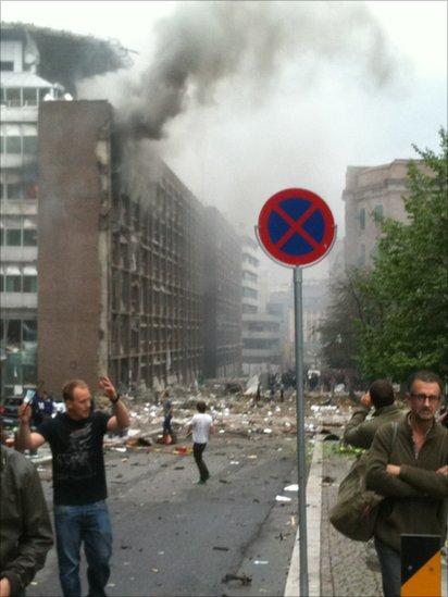 Explosion in Norway. Photo: Ella Mork