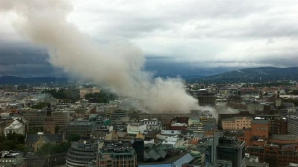 Smoke billows over Oslo, 22 July