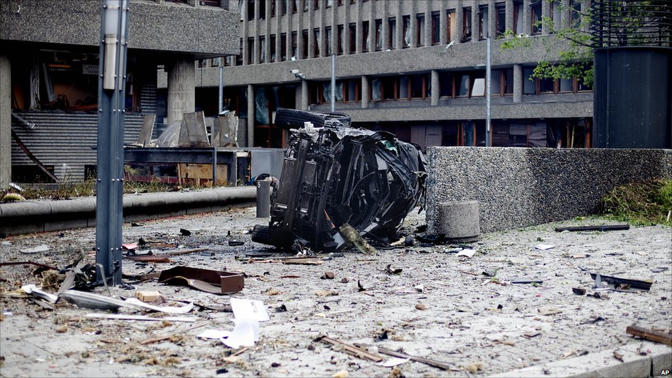 Aftermath of explosion in central Oslo, Norway - 22 July 2011